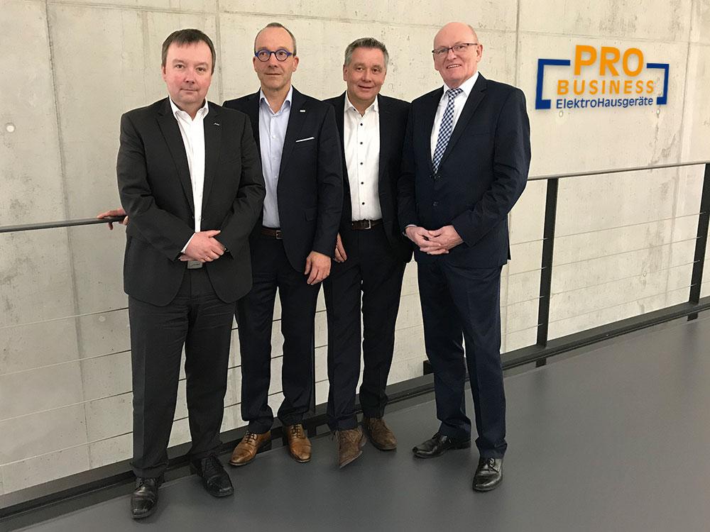 Der Vorstand von ProBusiness im Jahr 2019 (v.l.n.r.): Thomas Schwamm (JURA), Jan Recknagel (Kärcher), Peter Wildner (NIVONA) und Berthold Niehoff.