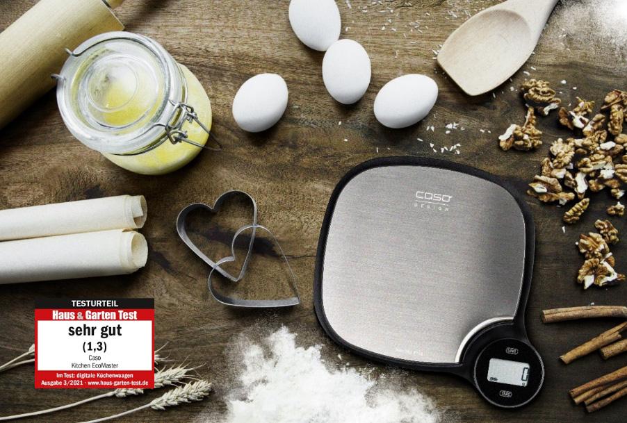 """Testurteil """"sehr gut"""" (1,3) für die umweltschonende Küchenwaage CASO Kitchen EcoMaster bei Haus & Garten Test"""
