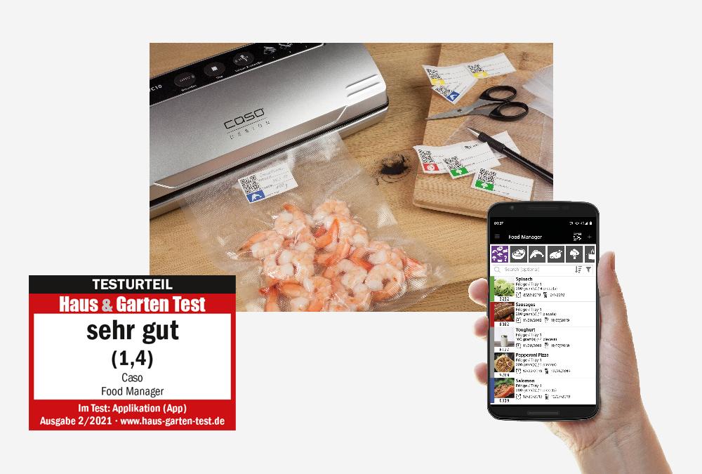 CASO FoodManager App schneidet bei Haus & Garten Test mit 1,4 (sehr gut) ab