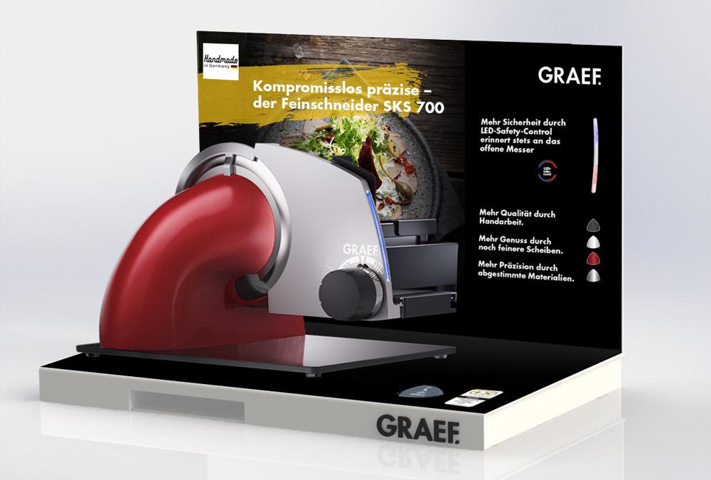 Vielseitiges POS-Material: Verkaufsstart des GRAEF Feinschneiders SKS 700 im Handel